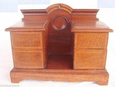 Antique Miniature Desk Chest Night Stand Pocket Watch Holder Jewelry Box (4066)