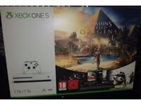 **SEALED** XBOX ONE S 1TB & ASSASSINS CREED ORIGINS & TOM CLANCYS RAINBOW SIX SIEGE GAMES BRAND NEW