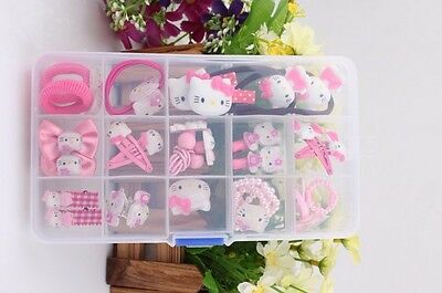 Hello Kitty set hair bands Girl hair clip  hair accessories brooch ring earring (Kitty Accessories)