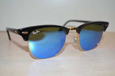 RAY BAN CLUBMASTER RB3016 51/21 Sunglasses Black Frame / Blue FLASH (Ray Ban Sunglasses Blue Lenses)