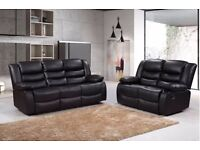 Rainey Luxury Bonded Leather Recliner Sofa Set With Pull Down Drink Holder
