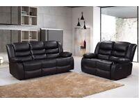 Luxury Rhodina 3&2 Bonded LEather REcliner Sofa Set With Pull Down Drink holder