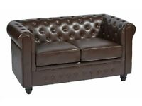 BRAND NEW PREMIMUM FAUX LEATHER CHESTERFIELD 2 SEATER SOFA CANCELLED ORDERS NATIONWIDE DELIVERY