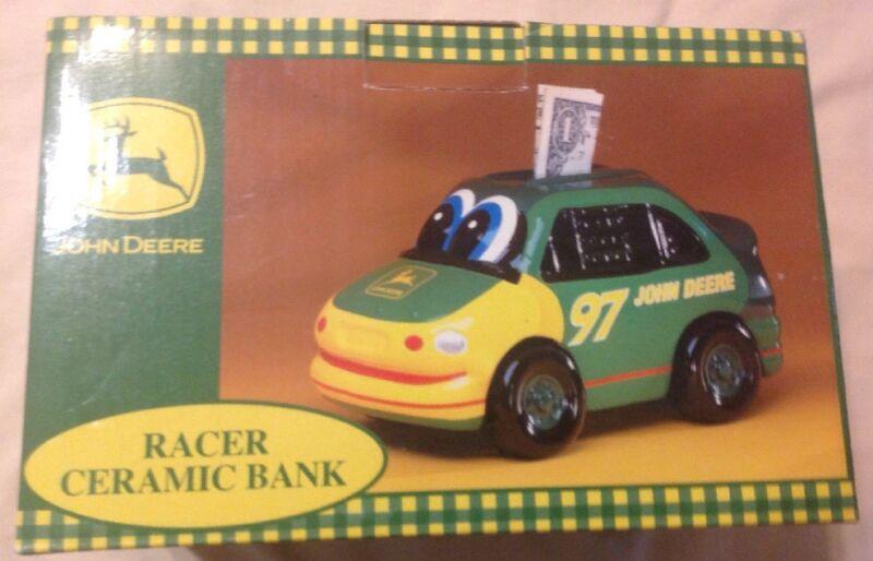 2000 New Enesco John Deere Racer Ceramic Bank No Chips Or Scratches