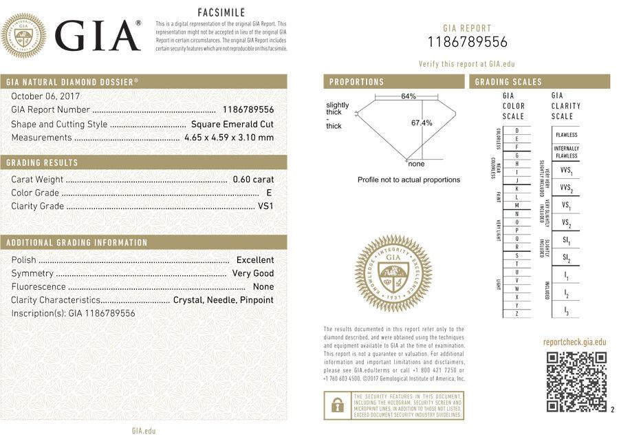 2.00 ct 3 Asscher cut Diamond Wedding Ring GIA E VS1 14k White Gold Band #115 1