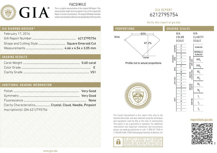 2.00 ct 3 Asscher cut Diamond Wedding Ring GIA E VS1 14k White Gold Band #115 3