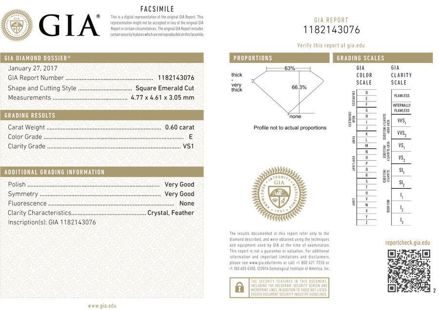 2.00 ct 3 Asscher cut Diamond Wedding Ring GIA E VS1 14k White Gold Band #115 2