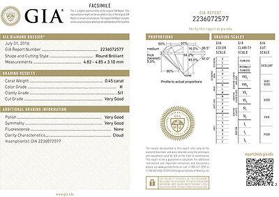 0.90 carat Round cut Diamond Studs Earrings Platinum H SI2 GIA certified 3