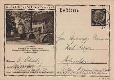 D.Reich Ganzsache P 236 WERTINGEN gelaufen MÜNCHEN 1940 (43526)