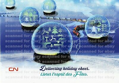UNUSED CN RAIL CHRISTMAS CARD, Canadian National Xmas train, holiday snow globes ()