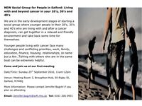 New social support group for people in their 20's, 30's & 40's in Salford living with cancer