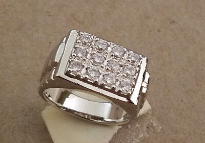 Men's Rhodium Plated 12 Hand Set  Clear CZ's Presidential Pattern Ring Size 10