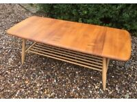 Ercol Coffee Table Windsor Natural Blonde Elm Spindle Rack Rectangular 459 c1980