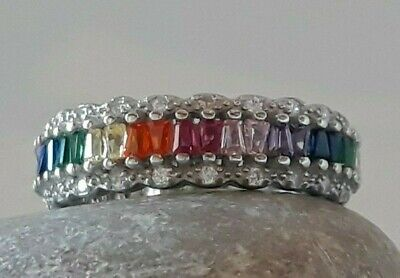 AAA QUALITY STERLING 925 SILVER  JEWELRY FANCY COLOR ZIRCON  ETERNITY BAND RING Fancy Eternity Band