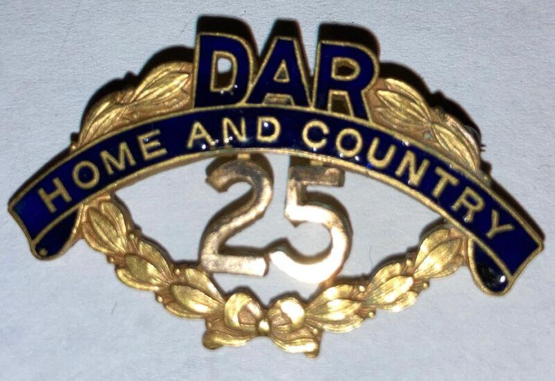 Antique Gold Filled Daughters Of American Revolution DAR Enamel Badge Caldwell