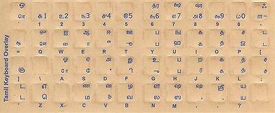 Tamil Keyboard Stickers W Reverse Print Blue Letters