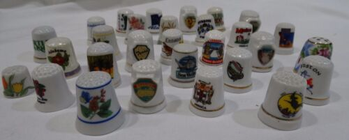 Vintage mixed lot Thimbles (30) Porcelain Souvenir Collectible VGC