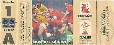 1995 RUGBY WORLD CUP QUALIFYING MATCH TICKET - SPAIN V WALES 21 May 1994 Madrid