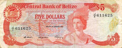 Belize  $5  1.1.1987  P 47a  Series  J/4  Circulated Banknote XYZ4