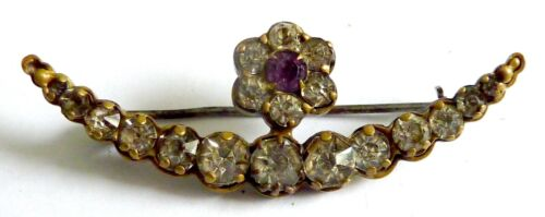 A VICTORIAN CRESCENT MOON & STAR BROOCH WITH WHITE & PURPLE DIAMANTES