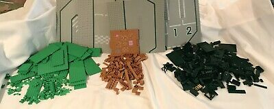 LEGO MIX OF 2.5 LBS of BRICKS ALONG WITH 4 32X32 ROAD BASEPLATES FROM 1980s Sets