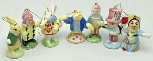 Vintage Alice in Wonderland Ceramic Christmas Ornaments Set Rare