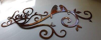 Love Scroll with Love Birds Metal Wall Art Decor
