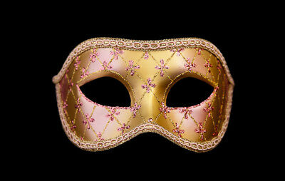 Mask from Venice Colombine Lea Pink and Golden for Prom Mask 956 V4B
