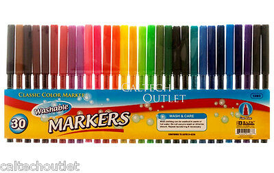 30PC Classic Color Markers Brilliant Assorted Colors Fine Tip Line Washable