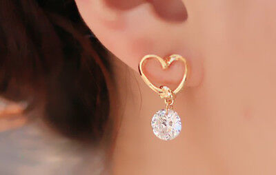 - Women's Gold Tone Stainless Steel Love Heart CZ Dangle Earrings Gift
