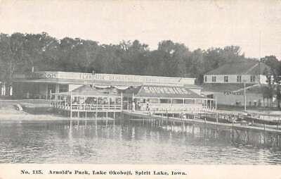 Spirit Lake Iowa Lake Okoboji Arnold's Park Scenic View Postcard AA20069