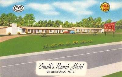 Greensboro North Carolina Smiths Ranch Motel Street View Vintage Postcard K54185 Carolina Ranch