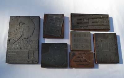 Printing Printer Block Metal On Wood King Of Swat Playbill Advertising 7pcs