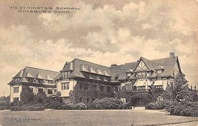 Simsbury Connecticut Westminster School Exterior Antique Postcard K22068