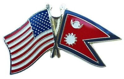 Wholesale Pack of 50 USA American Nepal Friendship Flag Hat Cap lapel Pin
