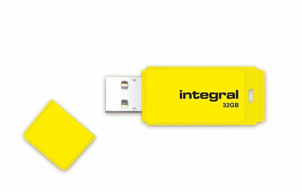 Integral NEON 32GB USB 2.0 Flash Drive Yellow  Memory Stick