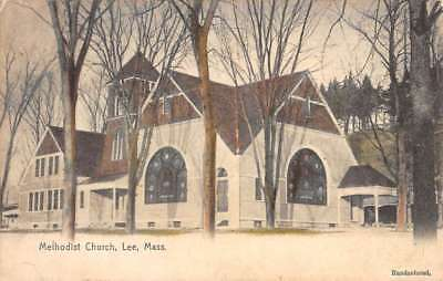 Lee Massachusetts Methodist Church Street View Antique Postcard (Lee Massachusetts)