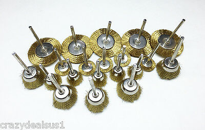 - (20) Brass Wire Brush Mounted Cup & Wheel Rotary Tool 1/8