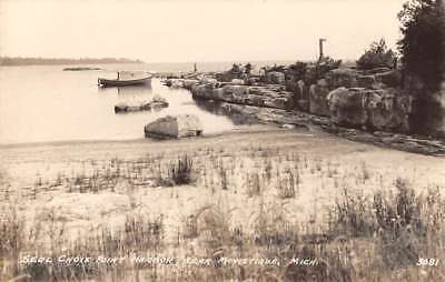 Manistique Michigan Seul Choix Point Harbor Real Photo Antique Postcard K102310