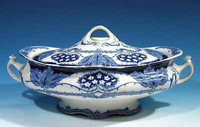 Late Mayers Antique Art Nouveau Blue & White Tureen & Cover.