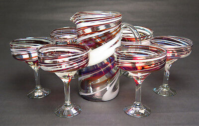 Mexican Margarita Red White Iridescent Swirl with Matching Pitcher, Hand Blown 6