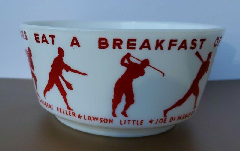 Vintage 1937 Wheaties Breakfast of Champions Milk Glass Premium Cereal Bowl Nice