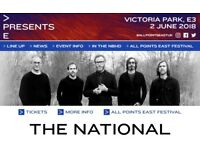 1 ticket for sale: The National & War on Drugs @ Victoria Park, London APE 2/6/18 (below face value)