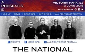 1 ticket for sale: The National & War on Drugs @ Victoria Park, London - 2nd June (below face value)