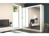 SAME DAY DELIVERY == Exquisite Full Mirrored Chicago Sliding Door Wardrobe - SAME DAY!
