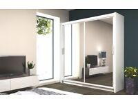 Best Selling Brand - New Berlin Full Mirror sliding 2 Door Sliding Wardrobe in Amazing 5 New Colors