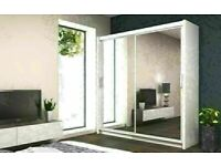 BOOKED ON CALL STAY AT HOME STAY SAFE BERLIN SLIDING DOOR FULL MIRROR WARDROBE w DRAWERS/SHELVES