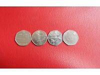 RARE London Olympics 2012 50p coins (Football-offside explained, Taekwondo, Weightlifting, Aquatics)