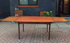 Mid Century Modern Teak Dining Table Extendable with 2 Leaves / Draw Leaf  or Pocket Leaf -REFINISHED, Surfboard shape