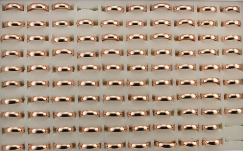 35pcs Stainless Steel Rings For Unisex Wholesale Lots Rose Gold Plated Ring